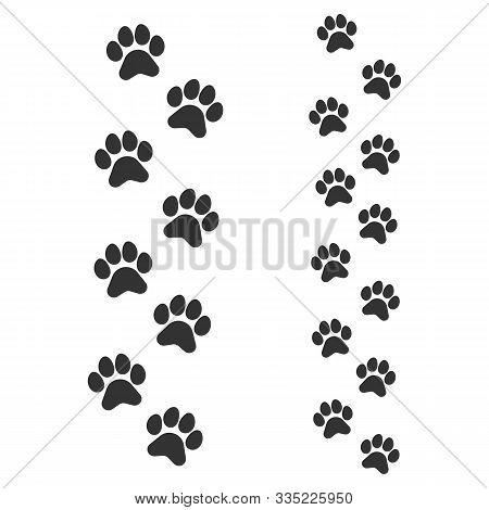 Paw Footprints Of Dog Or Cat, Parent And Cub, Adult And Child. Animal Tracks. Cute Children, Baby Ba