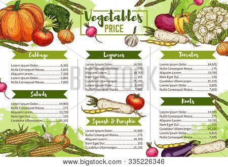 Vegetables, Farm Market Veggies And Organic Vegetarian Food Menu Price List. Vector Dollar Price For