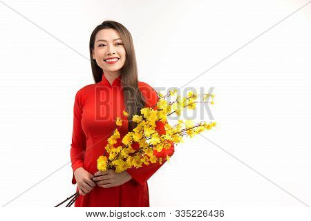 Asian Young Girl Wearing Traditional Clothing (ao Dai), Holding A Branch Of Yellow Apricot Blossom.