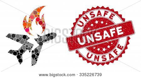 Mosaic Airplane Fire Crash And Rubber Stamp Seal With Unsafe Caption. Mosaic Vector Is Composed With