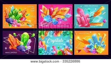 Crystals And Gem Stones With Abstract Geometric Shapes. Vector Gemstones, Mineral Rocks And Jewels,