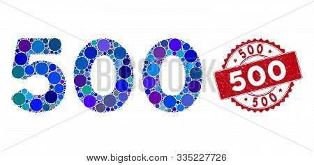 Mosaic 500 Digits Text And Grunge Stamp Seal With 500 Text. Mosaic Vector Is Created With 500 Digits