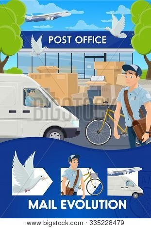 Mail Delivery Evolution, Postal Logistics And Transportation Service. Vector Pigeon Post And Air Mai