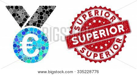 Mosaic Euro Prize Medal And Grunge Stamp Seal With Superior Caption. Mosaic Vector Is Designed From