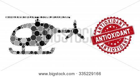 Collage Helicopter And Distressed Stamp Seal With Antioxidant Text. Mosaic Vector Is Designed With H