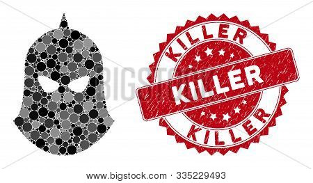 Collage Knight Helmet And Grunge Stamp Watermark With Killer Caption. Mosaic Vector Is Created With
