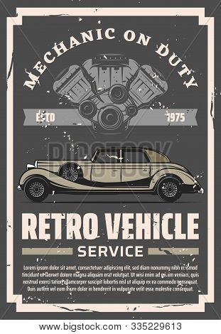 Vintage Old Cars Restoration And Repair Service Center, Rare Vehicles Motor Restoration Grunge Poste