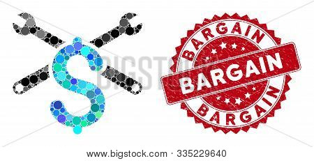 Mosaic Service Price And Grunge Stamp Watermark With Bargain Phrase. Mosaic Vector Is Designed With