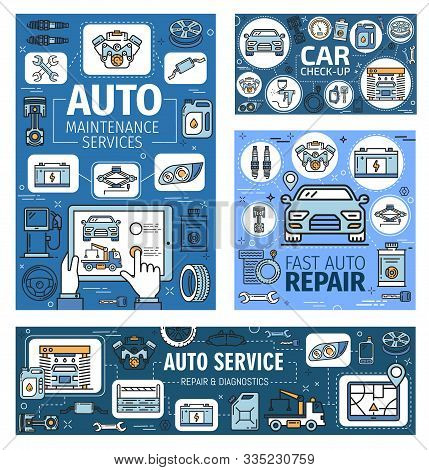 Car Maintenance Service, Automobile Repair And Diagnostics Auto Center. Vector Thin Line Posters, Ca