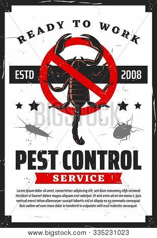 Pest Control Service, Insects Extermination And Professional Home Disinsection Vintage Retro Poster.