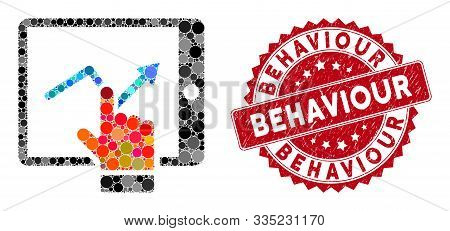 Mosaic Tablet Report And Rubber Stamp Watermark With Behaviour Phrase. Mosaic Vector Is Composed Wit