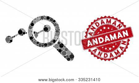 Mosaic Explore Stats And Grunge Stamp Seal With Andaman Caption. Mosaic Vector Is Formed With Explor
