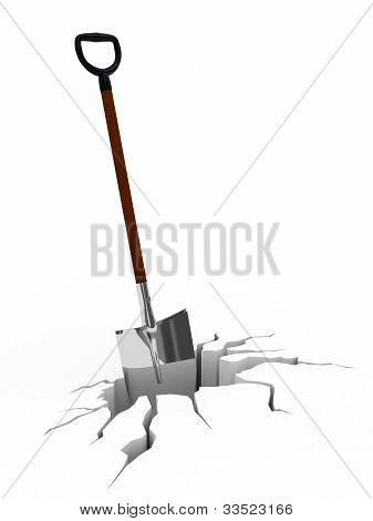Shovel In Surface Crack
