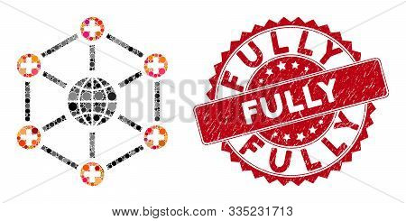 Collage Global Medical Network And Grunge Stamp Watermark With Fully Caption. Mosaic Vector Is Forme