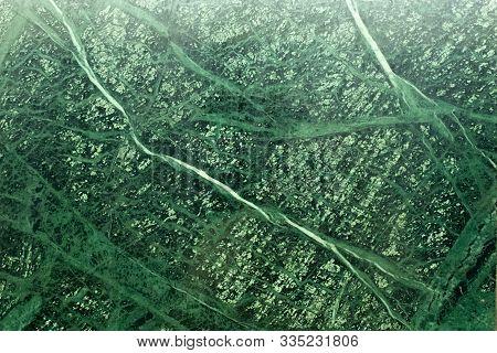 Green Malachite Jasper Texture. Smooth Surface Of Emerald Malachite Stone. Finishing Walls And Floor