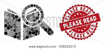 Mosaic Search Book And Grunge Stamp Seal With Please Read Phrase. Mosaic Vector Is Designed With Sea