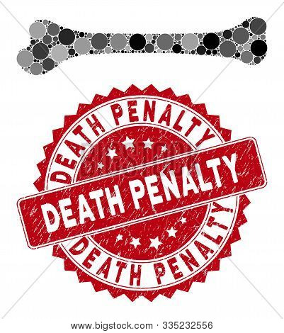 Mosaic Bone And Grunge Stamp Seal With Death Penalty Text. Mosaic Vector Is Formed With Bone Icon An