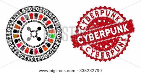 Mosaic Digital Casino Roulette And Rubber Stamp Seal With Cyberpunk Phrase. Mosaic Vector Is Created
