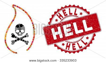 Mosaic Mortal Flame And Grunge Stamp Seal With Hell Text. Mosaic Vector Is Formed With Mortal Flame