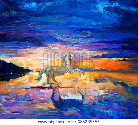 Original Abstract Oil Painting Of A Beautiful Blue Horse Running.modern Impressionism.painting Is Re