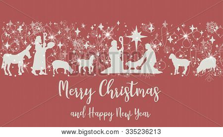 Birth Of Christ Scene Horizontal Banner On Red Background. Merry Christmas Card With Nightly Christm