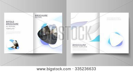 Vector Layout Of Two A4 Format Modern Cover Mockups Design Templates For Bifold Brochure, Magazine,