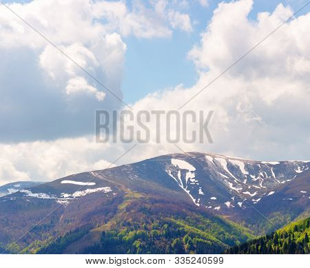 Mountain Hymba Landscape  In Springtime. Part Of Borzhava Ridge Of Ukrainian Carpathians Located In
