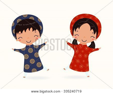 Hand Drawn Vector Illustration Of A Cute Children, Boy And Girl, In Ao Dai, Traditional Vietnamese C
