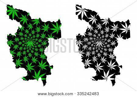 Department Of San Martin (republic Of Peru, Regions Of Peru) Map Is Designed Cannabis Leaf Green And
