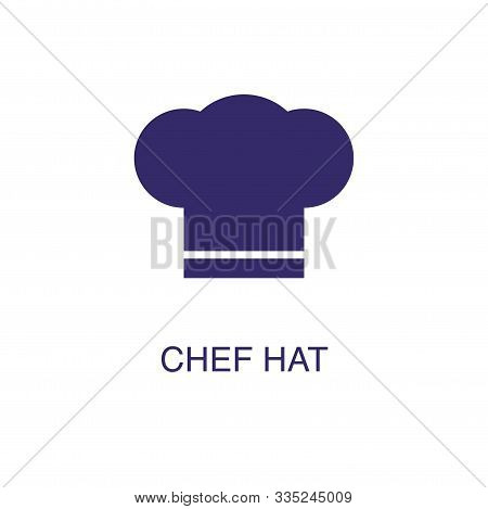 Chef Hat Element In Flat Simple Style On White Background. Chef Hat Icon, With Text Name Concept Tem