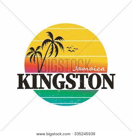 Kingston Jamaica Paradise Vintage Sunset Palm Tree Distressed Poster Beach Apparel
