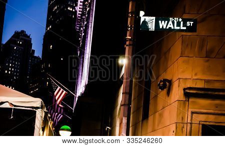 Newyork, Ny/usa August 9th, 2015 - Wall Street, New York Sign Board In Night. New York Stoke Exchang