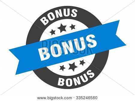 Bonus Sign. Bonus Blue-black Round Ribbon Sticker