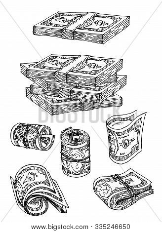 Dollar Banknotes Money Bundles Sketch Icons. Vector Isolated Set Of Paper Money Or Bank Notes Cash P