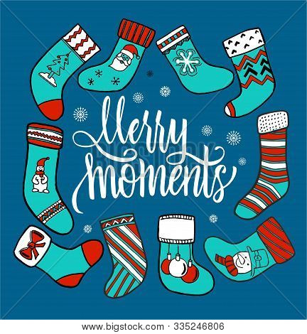 Christmas Stockings On A Blue Background. Set Of Various Christmas Stockings. Elements For X-mas And