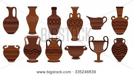 Greek Clay Pots. Illustration Of Clay Roman Traditional Vase. Ancient Vase Set Ancient Urn, Amphora,