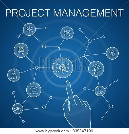 Project Management Concept, Blue Background. Project Presentation, Meeting, Workflow, Risk Managemen