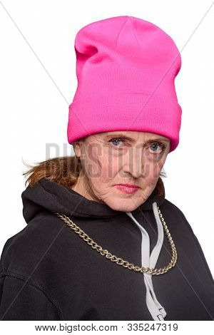 Gangsta Mom Looks With Spite. Unfriendly Behaviour Of An Old Woman