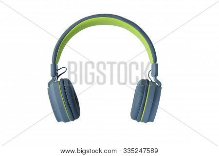 Pastel Color Headphones Isolated On White Background, Modern Electronic Gadgets