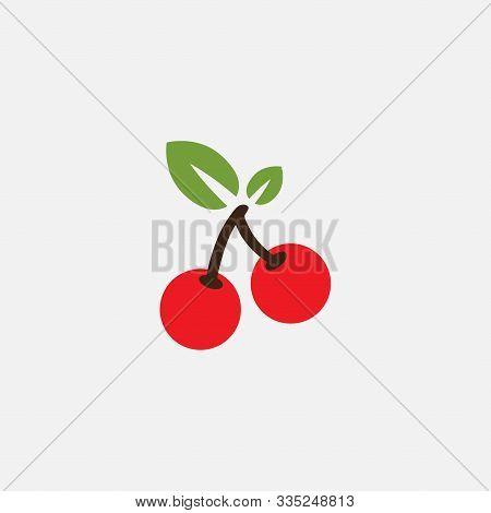 Cherry Logo Vector Template, Cherry Icon, Vector Fruit Illustration, Sweet Cherries, Fresh Healthy C