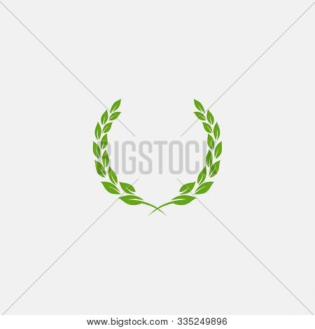 Laurel Wreath Floral Heraldic Element, Heraldic Coat Of Arms Decorative Logo Illustration, Vector Ar