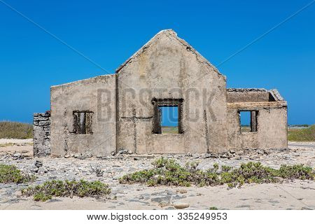 Old Historic Home Building As Ruin At Coast Of Island Bonaire