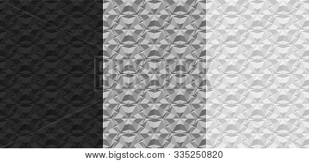 Set Of Black, Gray, White Geometric Seamless Patterns. 3d Textures With The Effect Of Volume Extrusi