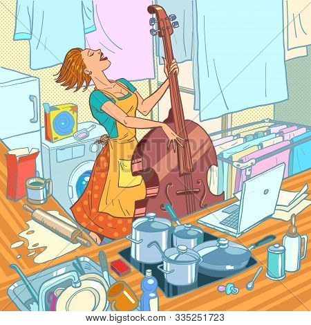A Female Musician Plays The Double Bass, A Housewife Is Distracted From Household Chores. Comic Cart