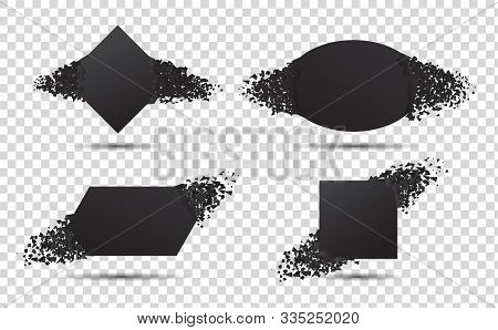 Black Banner With Explosion Particles. Concept Of Broken Card With Debris. 3D Burst Effect. Square A