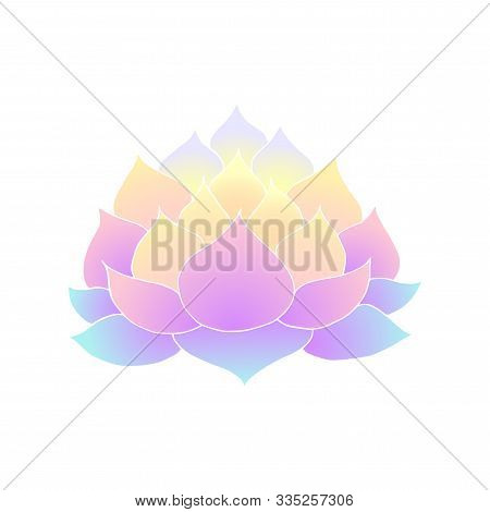 Vector Illustration Of Lotus Flower Stencil. Gradient Lotus Flower, Symbol Of Meditation And Enlight