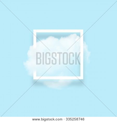 White Cloud In Snapshot Frame Illustration. Rectangular Border With Cotton Candy Isolated On Baby Bl