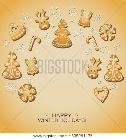 Gingerbread Background. Christmas Gingerbread Cookies, Border. Gingerbread Deer, Spruce, Hearts, Sno