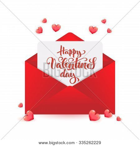 Valentines Day Calligraphy On Paper Within Red Envelope With 3d Realistic Hearts For Sale Poster, Fe