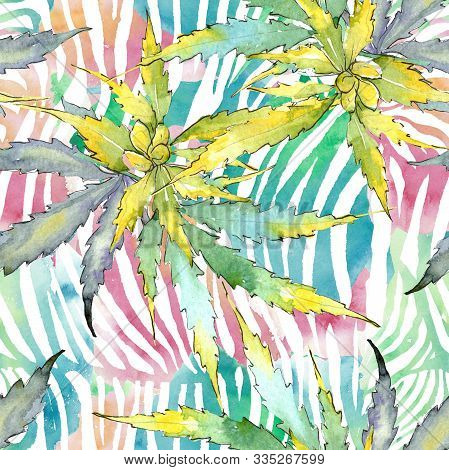Cannabis Green Leaves. Watercolor Background Illustration Set. Seamless Background Pattern.